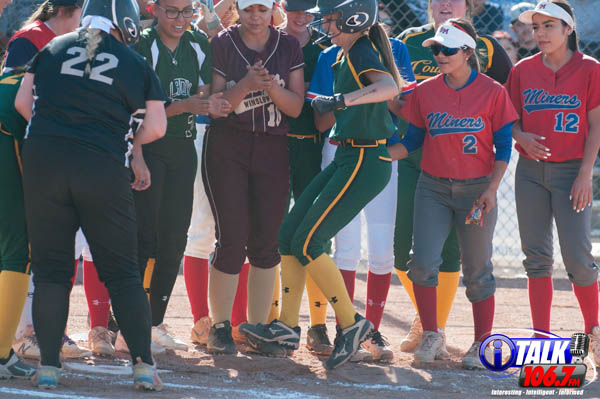 The North All-Star Softball Team Celebrate a Home Run by Shy Wheeler of Show Low High School During The 2018 Arizona High School Softball Game.