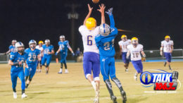 Blue Ridge Receiver Corey Endfield goes up for a catch in last year's game against Snowflake. Snowflake won 28-0. Photo taken 10-27-17 by iTalk photographer: Blake Murchison