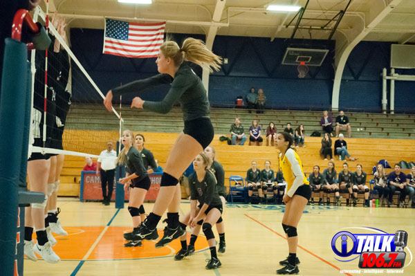 Blue Ridge Outside Hitter Ellie Berges crushes a ball for a kill during the opening round of the 2018 3A State Volleyball Tournament against Valley Christian. Blue Ridge lost 3 sets to 2. Photo Credit: Camden Smith - iTalk 106.7 FM