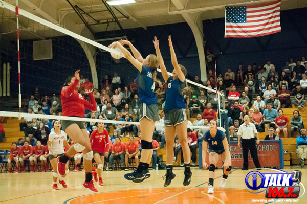 Snowflake Sophomore, Reagan Olsen #4 blocks a Monument Valley hit during the 2018 3A State Volleyball Quarterfinals. The Lobos defeated the Mustangs in 3 straight sets to advance to the Semifinals. Photo Credit: Camden Smith - iTalk 106.7 FM