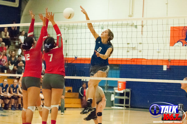 Snowflake Senior, Chloe Lyman gets a kill during the 2018 3A State Volleyball Tournament game against Monument Valley Photo Credit: Camden Smith, iTalk 106.7 FM
