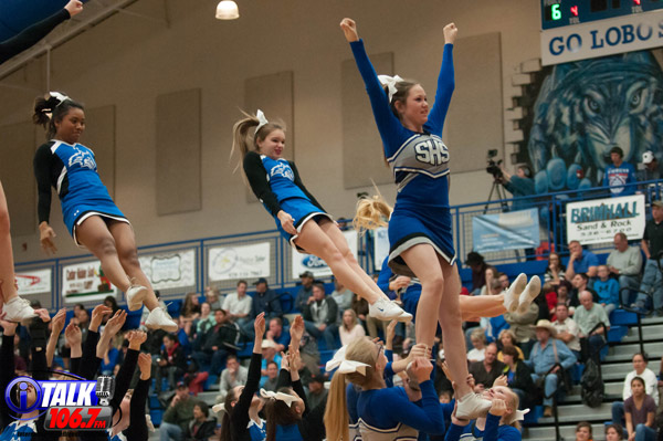 The 2016-2017 Snowflake Cheerleaders Perform During a Home Basketball Game.