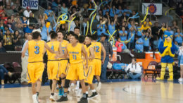 Alchesay Falcons Boys Basketball Team Celebrating a key Play During the 2018 2A State Tournament