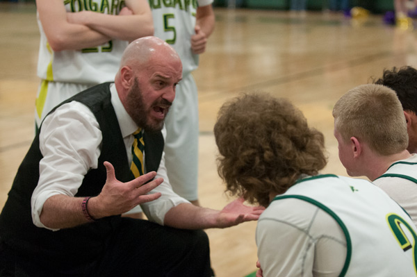 Show Low Head Coach-Matt Thacker motivates his team during a 2016-17 home game.