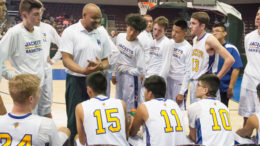 Blue Ridge Head Coach Darryl Suber Instructs His Team During The 2018 3A State Tournament