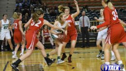 St Johns Redskins Pressures the Ball as the Thatcher Eagles try to bring the ball up the court during the 2020 Girls 2A State Basketball Semifinals.
