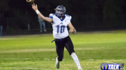 Snowflake Quarterback Caden Cantrell #10 Delivers a pass during their 22-21 Win At Blue Ridge High School on 10-16-2020