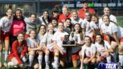 St John's Lady Redskins Pose With the 2020 2A State Soccer Runner-up Trophy.