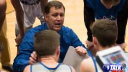 Snowflake Head Coach Andy Wood Huddles with his team during a time out in the 2020 3A State Play-offs.