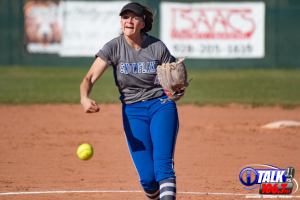 Snowflake sophomore pitcher Maren Berger collects her 6th win of the season 9-6 over rival Show Low High School. April 20th, 2021