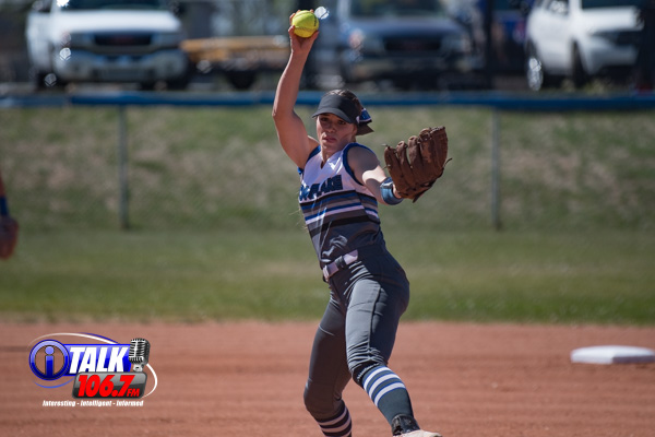 Snowflake Senior Pitcher Anna Berger fires off a pitch against the Payson Longhorns. Snowflake won 2-1 in the 10th inning. Berger scored the winning run on a passed ball. 4-30-21.